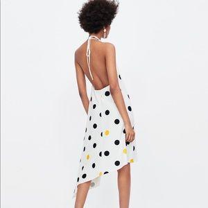 Zara Polka Dot Halter Asymmetrical Dress